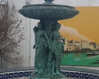 Impressive bronze fountain. Classical figures. Approx. 8 feet high.