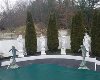 "Large set of ""Four Seasons"" Marble figures on pedestals. Overall height- 82"" high"