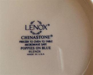"Mark on bottom of Lenox stoneware type dishes ""Poppies on Blue"" pattern"