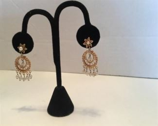 Victorian chandelier earringS Byzantine style, 14kt yellow gold with pearls