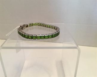Sterling 925 base green glass stone bracelet