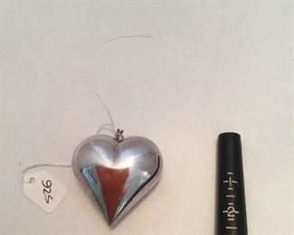 Sterling large heart pendant