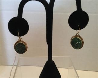 Earrings green carved jade on 14kt gold