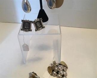 All Sterling earrings and grape leaves brooch