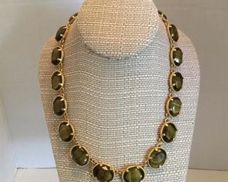Tiger eye glass necklace made in Germany in 1960's