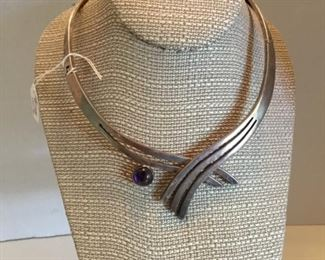 Sterling silver modern cool necklace with amethyst cabochon