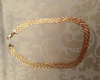 "14kt gold flat rope necklace - 20 grams - 18 1/2"" L"