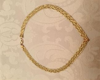 14kt yellow gold necklace flat rope - 15 grams - 16""