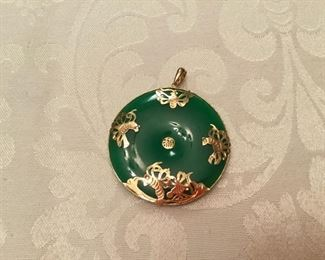 "Jade round forest green medallion with 14kt gold ornaments & bail - 2"" D"