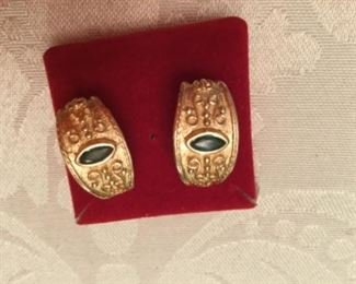 14kt yellow gold earrings and emeralds open back for stone