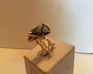 14kt yellow gold Smokey topaz modern ring