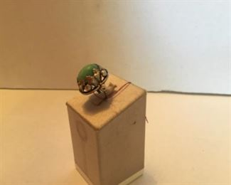 Sterling and green stone ring
