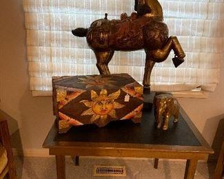 BALI SUN MOTIF TRUNK, CHINESE GILT WOOD HORSE STATUE