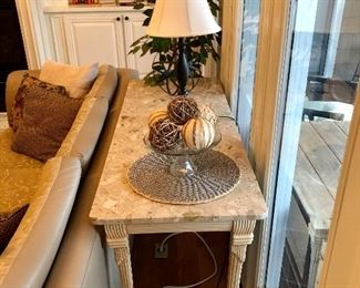 Marble top table, has matching coffee table