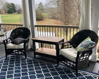 Black rattan and wicker chairs (4 that match), wood table