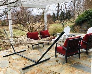 Metal framed hammock, patio chairs
