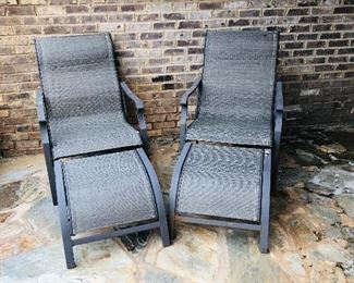 Metal out door chairs with foot stools