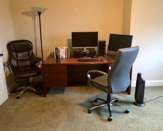 Office desk and two office chairs,and floor lamp. Computer not for sale