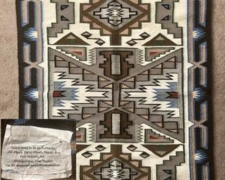 Authentic Navajo rug, all wool.  Woven by Alex Bitsul, 1st Nations Art Albuquerque, New Mexico