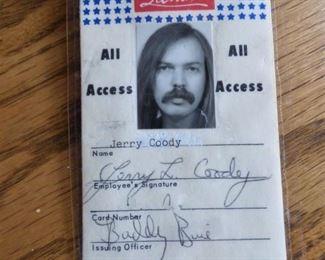 """Jerry's Roadie Pass for Atlanta Rhythm Section 1970""""s"""