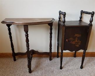 Antique Side Table and Oriental Storage Stand https://ctbids.com/#!/description/share/306593