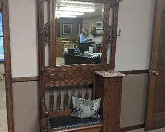 $275  antique hall tree with seat