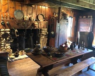 Fireplace tools, bowls, trestle table