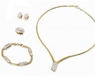 3. 18K YG 5PC Jewelry Set with 296 BrilliantCut Diamonds