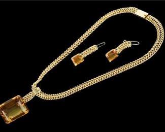 4. Retro 75 Carats Citrine 3Piece 14K Pendant, Curb Link Necklace  Earrings