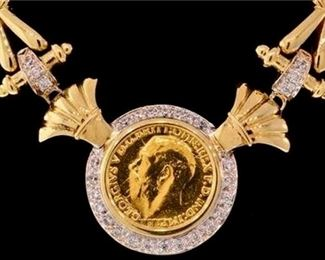 6. British Sovereign Gold Coin Necklace Certified