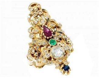 8. 18K YG Gold Ring with Diamonds, Ruby Emerald