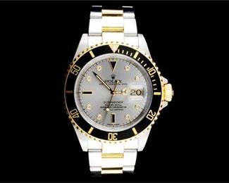 10. Rolex Submariner 18K YG SS Diamond Watch