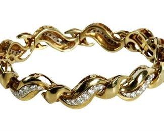 3. 18K Yellow Gold Wave Link Diamond Bracelet