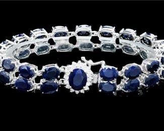 4. 53.5ct Sapphire 0.55ct Diamond 14K WG Bracelet, New with tag