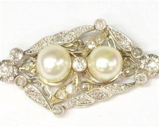 5. White Gold Pearl Diamond Brooch