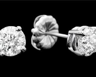 9. 14K White Gold 1.50 CT Diamond Earrings