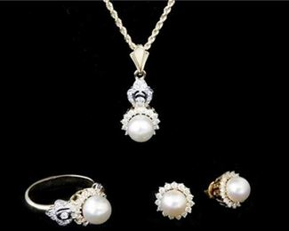 7. 18K Pearl and Diamond Necklace, Ring, Earring Set