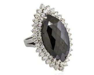 11. 14.68ctw Fancy Black Diamond 14K White Gold Ring
