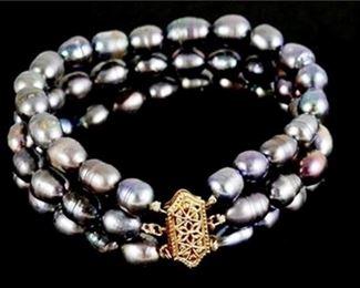 2. Graduated TripleStrand Baroque Tahitian Pearl Bracelet
