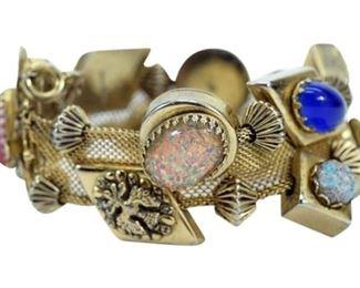 6. Silver Gold Slide Vintage Charm Bracelet
