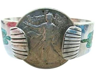 8. Vintage Sterling Navajo 1936 Liberty Half Dollar Cuff