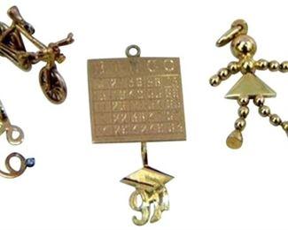 9. Five 5 Vintage Yellow Gold Bracelet Charms