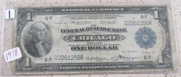 1918 Federal Reserve Bank Chicago $1.00 Note