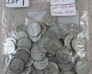 68 - 40% Silver Kennedy Half Dollars
