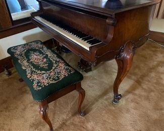 Hardman Grand Piano - Cabriole Legs - Walnut Finish