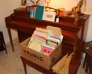 furniture piano and sheet music