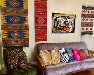 Handwoven, Hand-dyed using natural dyes rugs from Oaxaca. Futon in great condition.