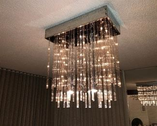 """BEAUTIFUL MODERN CONTEMPORARY base is 24"""" x 12"""", LUCITE TUBES 24"""" and 18"""" long. CHANDELIER , LIGHT FIXTURE 1970's  STARTING BID $2,000 make an offer"""
