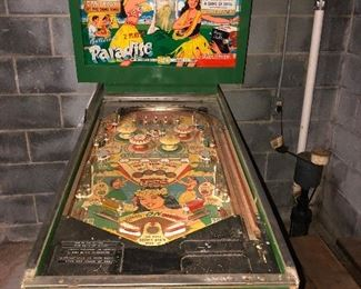Late 60's PARADISE 2 PLAYER PINBALL MACHINE ( needs repair). Glass top included.  $300 or best offer