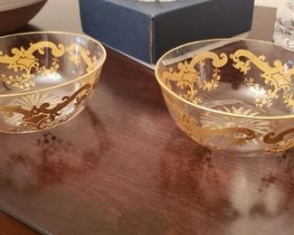 Crystal Finger Bowls with Gold Overlay Paint